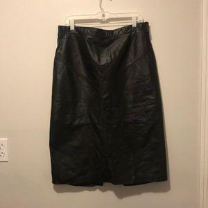 Black leather skirt.